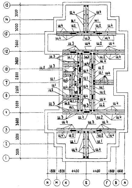 Схема раскладки щитов опалубки