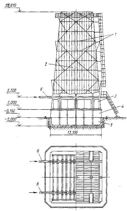 Черт.  80.Схема башенной градирни со стальным каркасом площадью fор=144 м2.