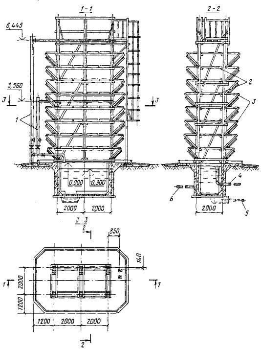 81 приведена схема открытой капельной градирни площадью в плане 2`4 м. СНиП 2.04.02-84.