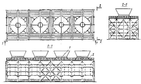 ...градирен площадью орошения 144 м2 и более каждой секции (типовые проекты) возможна другая схема компановки...