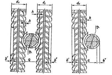 Рис.4.6.Схема крестообразных соединений,выполняемых контактной точечной сварки а- двух стержней; б - трех стержней.
