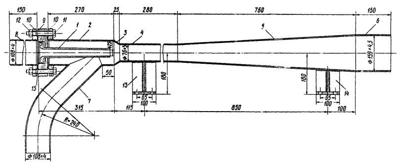 Конструкция гидроэлеватора :