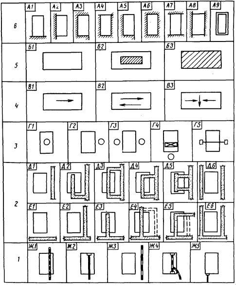 б - схема разбивки цеха на