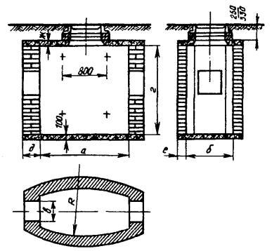 Проходные кирпичные колодцы типа ККС-2, ККС-3, ККС-4 и ККС-5.  Таблица 3.11.