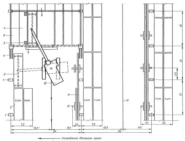Технологические схемы монтажа покрытий одноэтажных промзданий с предварительным укрепнением светоаэрационных фонарей...