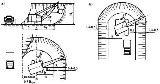 Рис. 5.7.  Схема разработки выемки: а - боковым забоем; б - лобовым забоем.