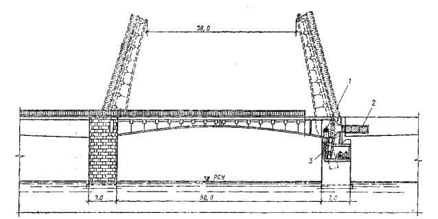 Двукрылый раскрывающийся мост: