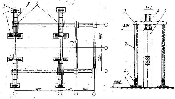 Схема усиления колонн рамных
