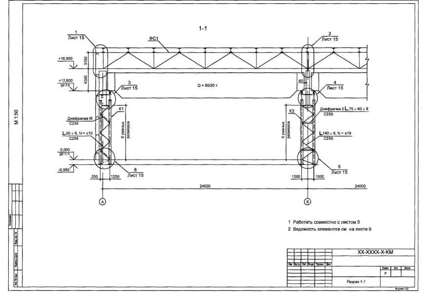 Схема расположения колонн