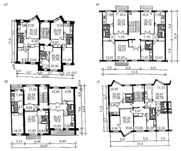 а , б - кирпичные жилые дома