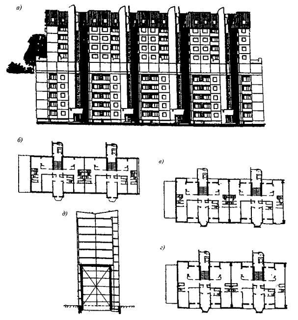 Практически...  Рис. 3.10.  Реконструкция малоэтажных крупнопанельных зданий методом обстройки и надстройки а...