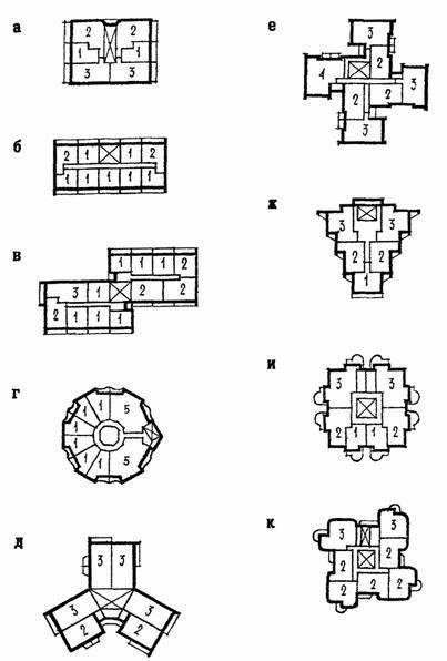 Схемы односекционных жилых