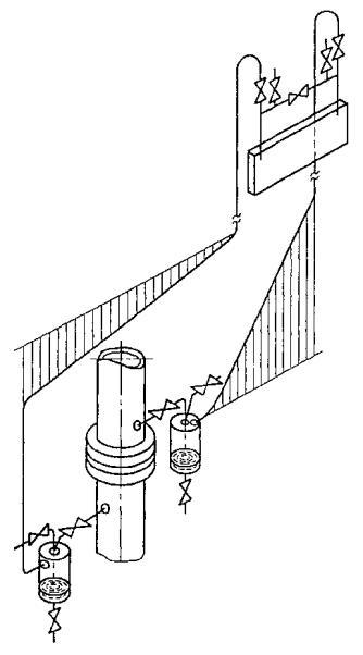 Наклон двух соединительных трубок одинаков.  Рисунок В.14 - Дифманометр выше отверстий для отбора давления.