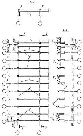 Схема связей в покрытиях с