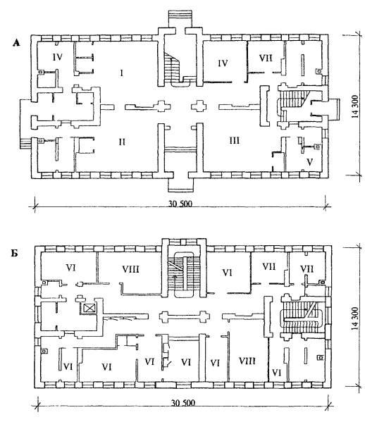 А - план 1-го этажа, Б - план 2-го этажа. выставочный зал авторских моделей.  I. салон женской одежды. салон-магазин.